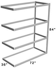 "Long Span Shelving, 72"" x 36"" x 84"" No Decking, 600 Lbs. Cap., Adder"