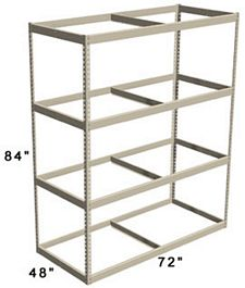"Long Span Shelving, 72"" x 48"" x 84"" No Decking, 1500 Lbs. Cap., Starter"