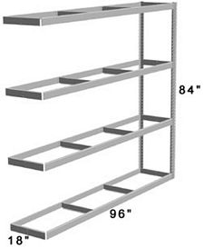 "Long Span Shelving, 96"" x 18"" x 84"" No Decking, 1000 Lbs. Cap., Adder"
