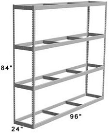 "Long Span Shelving, 96"" x 24"" x 84"" No Decking, 1000 Lbs. Cap., Starter"