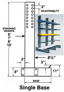 "8' Single Column & Base w/hardware - 46"" W"