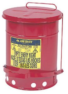Red Oily Waste Can, 6-gal., with foot operated cover