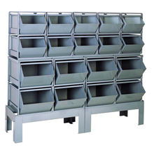 Stacking Rack w/ 18 Combined Size Steel Bins