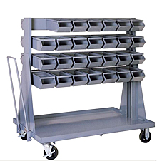 "Mobile Rack w/ 56 Stacking Bins (15-1/2""L x 7-1/2""W x 6""H)"
