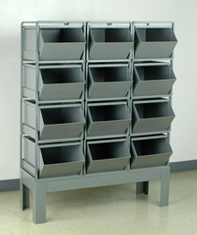 "Stacking Rack w/ 12 Steel Stacking Bins (20-1/2""L x 12""W x 9-1/2""H)"