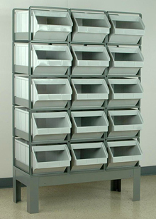 "Stacking Rack w/ 15 Plastic Stacking Bins (20-1/2""L x 12""W x 9-1/2""H)"