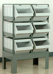 "Vertical Stacking Rack w/ 6 Plastic Stacking Bins (20-1/2""L x 12""W x 9-1/2""H)"