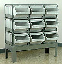 "Stacking Rack w/ 9 Plastic Stacking Bins (20-1/2""L x 12""W x 9-1/2""H)"