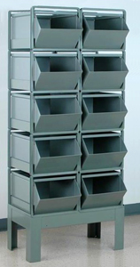 "Stacking Rack w/ 10 Steel Stacking Bins (24""L x 15""W x 11""H)"