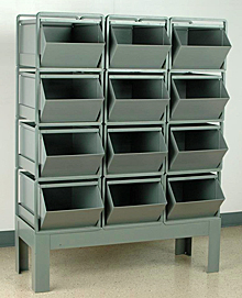 "Stacking Rack w/ 12 Steel Stacking Bins (24""L x 15""W x 11""H)"