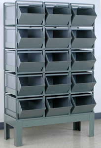 "Stacking Rack w/ 15 Steel Stacking Bins (24""L x 15""W x 11""H)"