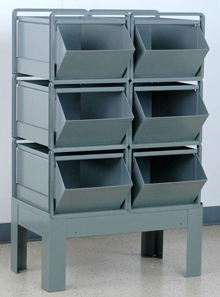 "Vertical Stacking Rack w/ 6 Steel Stacking Bins (24""L x 15""W x 11""H)"