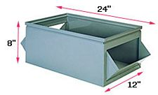 "800 Series Double Sided Steel Hopper Box, 24"" x 12"" x 8"""