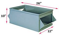 "800 Series Double Sided Steel Hopper Box, 26"" x 12"" x 10"""