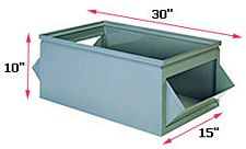 "800 Series Double Sided Steel Hopper Box, 30"" x 15"" x 10"""