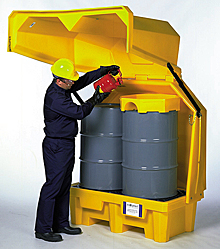 Hard Top Drum Safety Storage - With Drain, 2 Drums