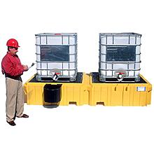 Twin IBC Spill Pallet - With 1 left side bucket shelf, w/o drain