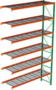 "Pallet Rack with Wire Decking - Adder with 6 Beam Levels - 144""w x 42""d x 240""h"