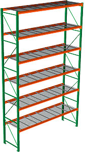 "Pallet Rack with Wire Decking - Starter with 6 Beam Levels - 144""w x 42""d x 240""h"
