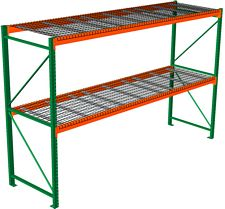 "Pallet Rack with Wire Decking - Starter with 2 Beam Levels - 144""w x 36""d x 120""h"