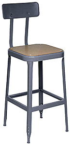 shop stool pressed wood seat steel back rest