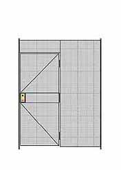 "1-Wall Welded Wire Partition - 6'W x 8'5-1/4""H - 3' Hinged Gate"