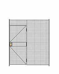 "1-Wall Welded Wire Partition - 7'W x 8'5-1/4""H - 3' Hinged Gate"