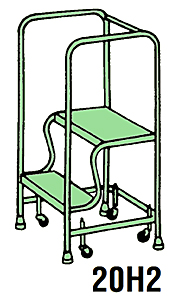 "2 Step Traction Tread Welded Steel Mobile Ladder Stand w/ Handrail - 26""W x 12""D Platform"