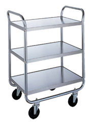 "Stainless Steel Utility Cart - 17-1/2"" W x 27"" L x 35-3/4"" H, 500 lb. Cap."