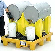 Spill Containment Drum Rack, 2-Drum, With Drain