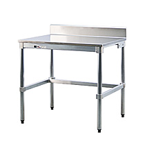 "Stainless Steel Topped Table w/ Backsplash - 30""D x 34""H x 36""L"