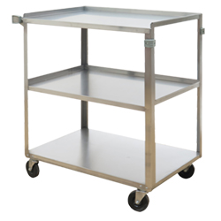 "Stainless Steel Service Cart with Three Shelves - 17.625""L x 27.125""W"