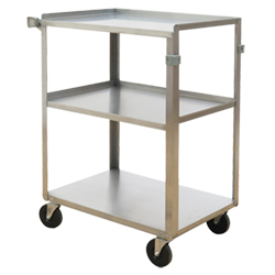 "Stainless Steel Service Cart with Three Shelves - 15.75""L x 24""W"