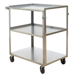 "Stainless Steel Service Cart with Three Shelves - 18""L x 27.375""W"