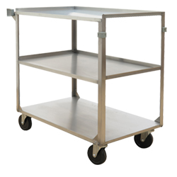 "Stainless Steel Service Cart with Three Shelves - 21""L x 13.125""W"