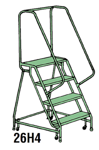 "5 Step Traction Tread Welded Steel Mobile Ladder Stand w/ Handrail - 26""W x 12""D Platform"