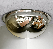 "Three-Quarter Corner Dome Mirror - 18"" dia."
