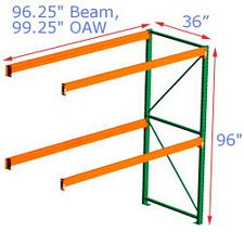 96h x 36d x 96.25w Pallet Rack Adder - 2 Beam Levels - 3155 Cap. Beams