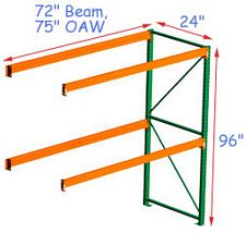 Pallet Rack Adder - 96h x 24d x 72w, 2 Beam Levels - 4000 Cap. Beams