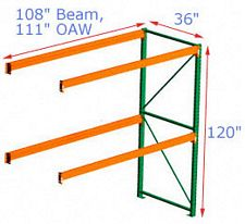 Pallet Rack Adder - 120h x 36d x 108w, 2 Beam Levels - 7320 Cap. Beams