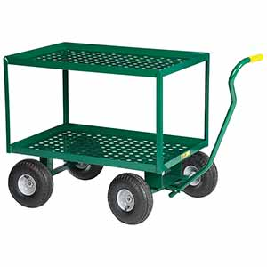 "5th Wheel Wagon - 24"" x 36"" Perforated Double Decks w/ Retaining Lips, 10"" Pneumatic Wheels, 1000 lb. Cap."