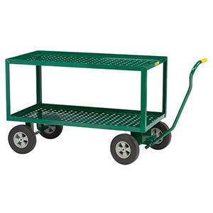 "5th Wheel Wagon - 24"" x 36"" Perforated Double Decks w/ Retaining Lips, 8"" Solid Rubber Wheels, 1000 lb. Cap."