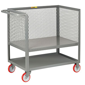 "3-Sided Mesh Box Truck - Raised Platform with Shelf, 24"" x 48"" Deck, 5"" Poly Casters"