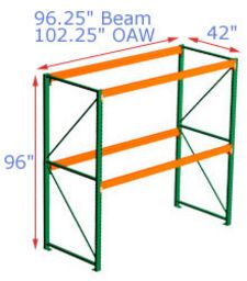96h x 42d x 96.25w Pallet Rack Starter - 2 Beam Levels - 3155 Cap. Beams
