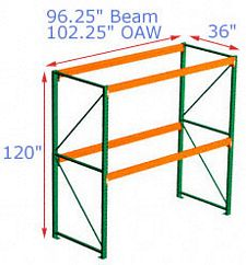 120h x 36d x 96.25w Pallet Rack Starter - 2 Beam Levels - 3155 Cap. Beams