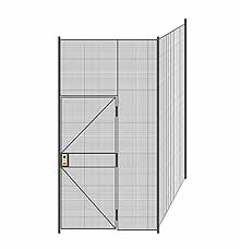 "2-Wall Welded Wire Partition - 5'4"" x 5'4"" x 10'5-1/4""H - 3' Hinged Gate"