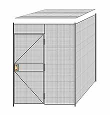 "2-Wall Welded Wire Partition w/ Ceiling - 6'4"" x 6'4"" x 8'5-1/4""H"