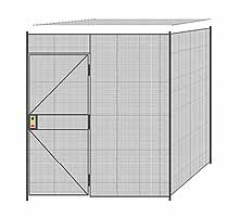 "2-Wall Welded Wire Partition w/ Ceiling - 7'4"" x 7'4"" x 8'5-1/4""H - 3' Hinged Gate"