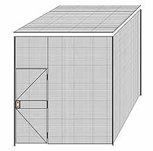 "2-Wall Welded Wire Partition w/ Ceiling - 9'4"" x 9'4"" x 10'5-1/4""H - 3' Hinged Gate"