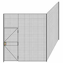 "2-Wall Welded Wire Partition - 9'4"" x 9'4"" x 10'5-1/4""H - 3' Hinged Gate"